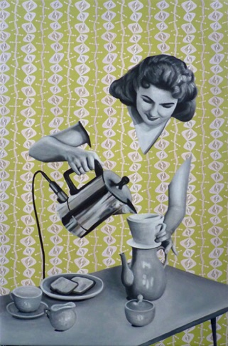 23. Julia Making Coffee, 60x40 cm