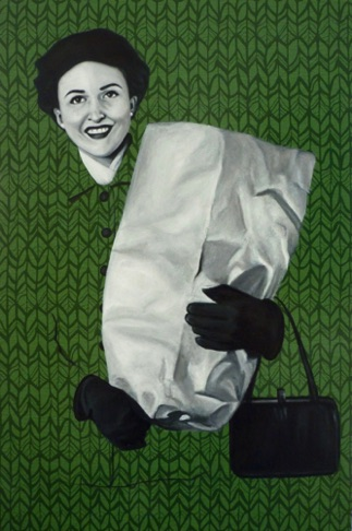 55. Barbara with Shopping Bag, 60x40 cm